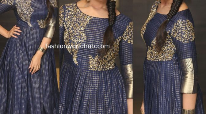 Anchor Syamala in a long gown at Marshal Pre release event!
