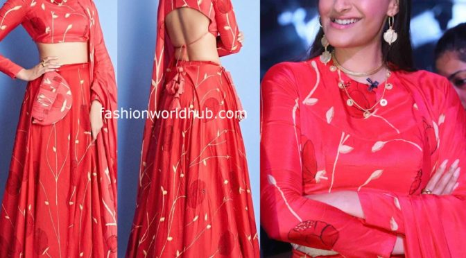 "Sonam kapoor in Red lehenga by Vedika M for Promotions of "" The Zoya factor"""