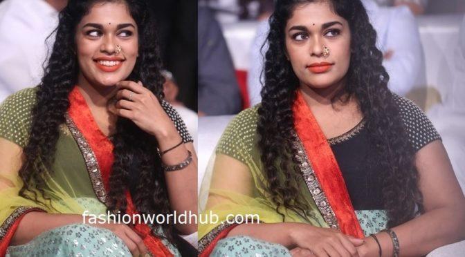 Sreeja Kalyan in Sabyasachi at Sye Raa Narasimha Reddy Pre-Release Event