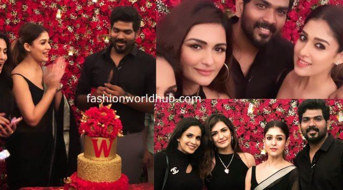 Nayanthara in a black saree at Vignesh Shivan Birthday bash!