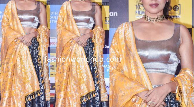 Bhumi Pednekar in a banarasi silk lehenga at Jagran Film Festival