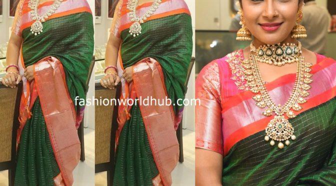 Hari Teja in Green silk saree by Madhuras designer studio!