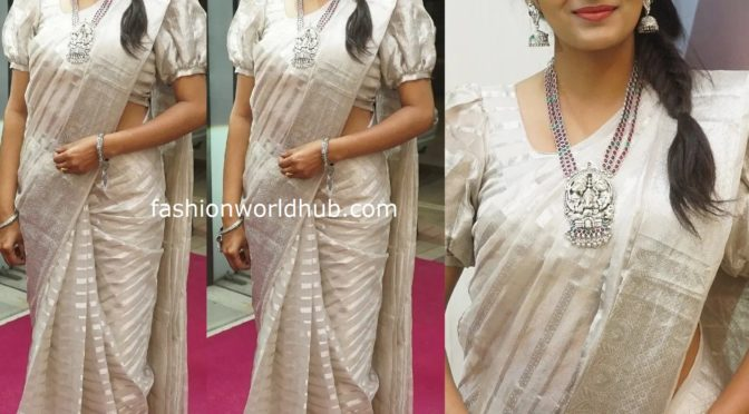 Himaja in Traditional saree at TBZ Jewellery festive collection launch event!