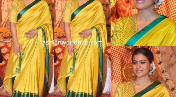 Kajol in Yellow silk saree at Durga Puja celebrations