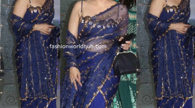 Kajol in Shivan Narresh blue saree at Jackky Bhagnani's Diwali party
