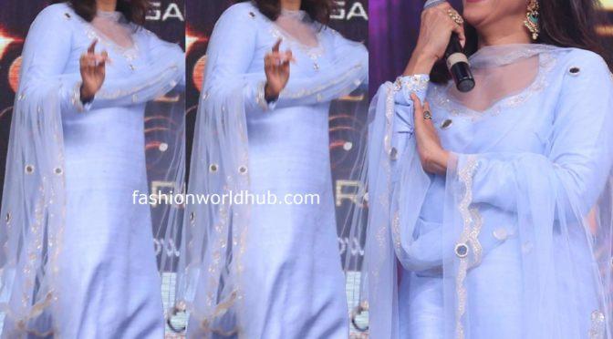 Nadhiya in a lavender salwar suit at Wonder Woman Awards