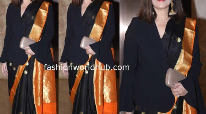 Neeta Lulla in a black silk saree at a Diwali party