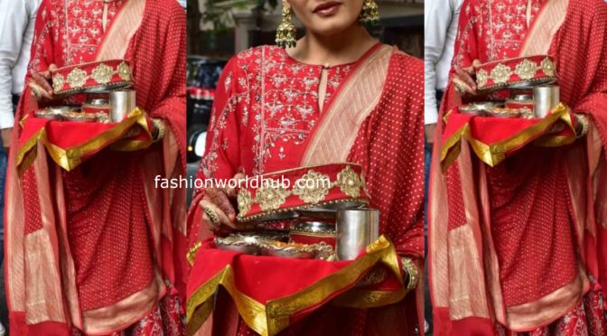 Raveena Tandon in a red anarkali suit at Karwa Chauth celebrations