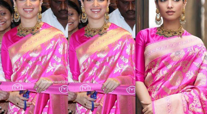 "Tamannaah Bhatia in Pink Banarasi silk saree by "" Raw mango"""
