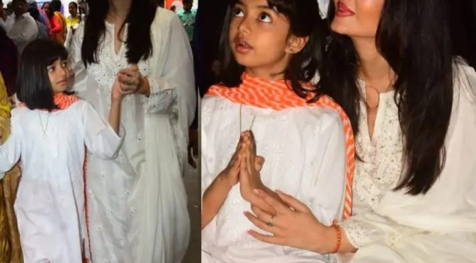 Aishwarya and Aaradhya at Durga Puja celebrations!