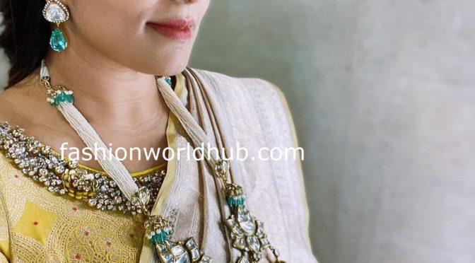 Viranica Manchu in a pearl haram with polki pendant