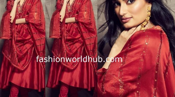 Athiya shetty in Red Salwar by Ritu kumar