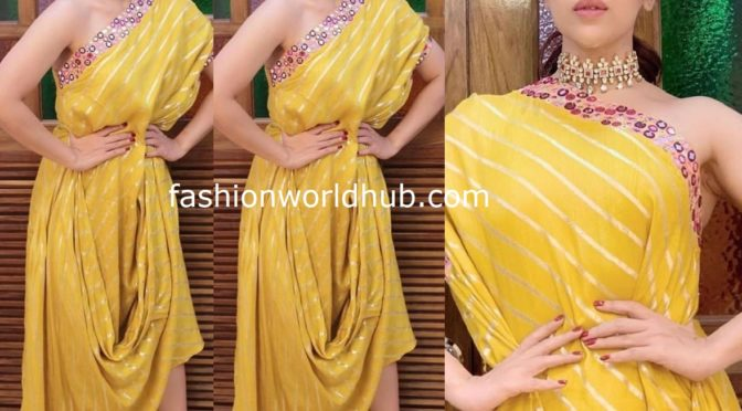 Bhumi Pednekar in yellow cowl dress for promotions for saand ki aankhth!