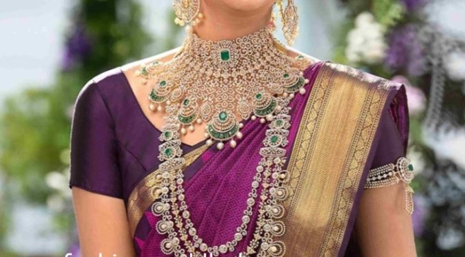 Diamond emerald wedding jewellery set by PMJ