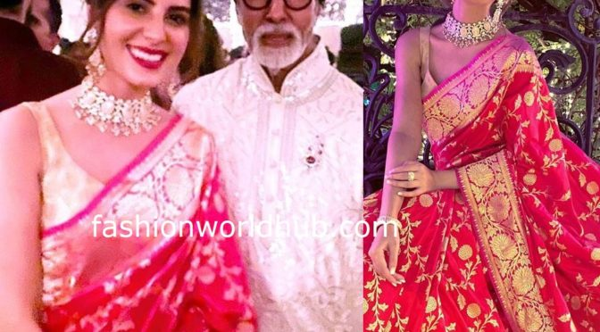 Elnaaz Norouzi in Red banarasi silk saree at at the Bachchan's Diwali party