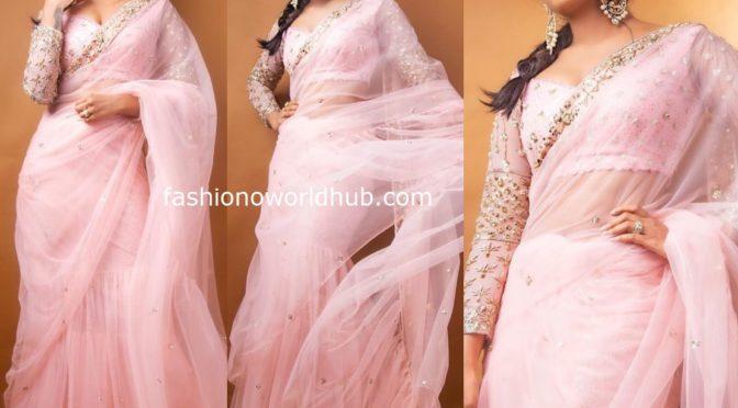 Eesha Rebba in a pink ruffle saree