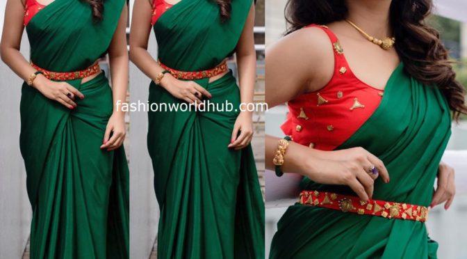 Vani Bhojan in a Green plain saree!