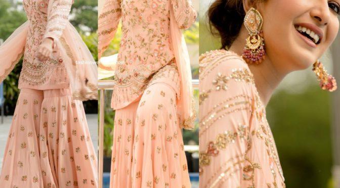 Catherine Tresa in peach sharara suit at Aruvam audio launch