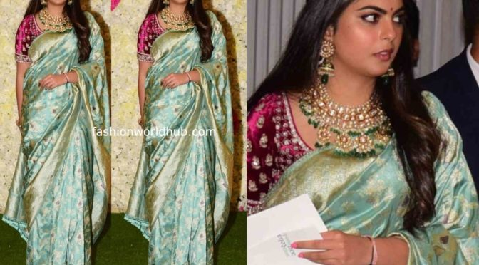 Isha Ambani in a banarasi silk saree at their Diwali party
