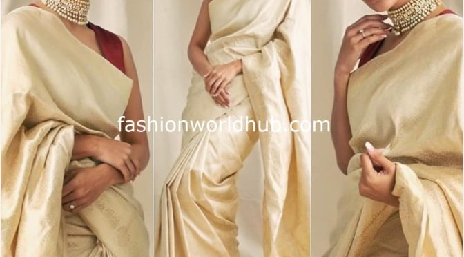 Mouni roy in Gold silk saree by Āroka