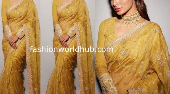 Mouni Roy in Yellow saree by Faabiiana for promotions of Made in China