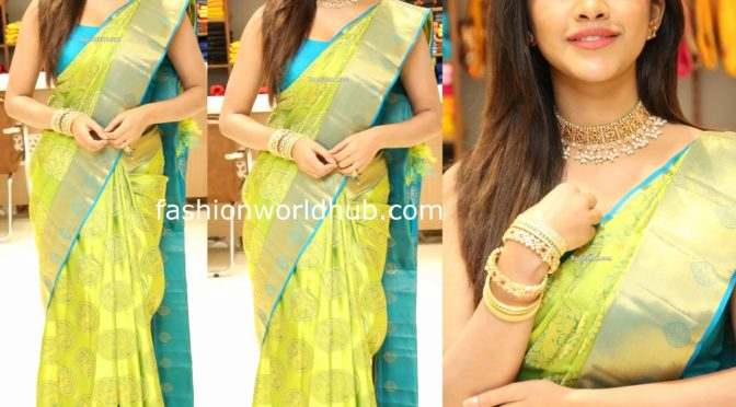 Nabha Natesh in a green pattu saree at Srika Shopping Mall launch