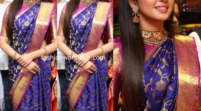 Pranitha Subhash in a blue Kanjeevaram saree