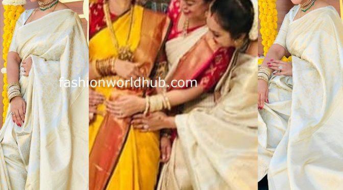Preetha Hari in a kanjeevaram saree at Sneha seemantham function!