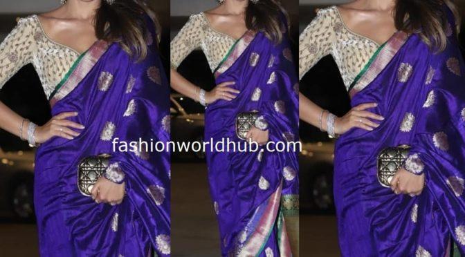 Shriya Saran in blue saree at Jacky Bhagnani Diwali party