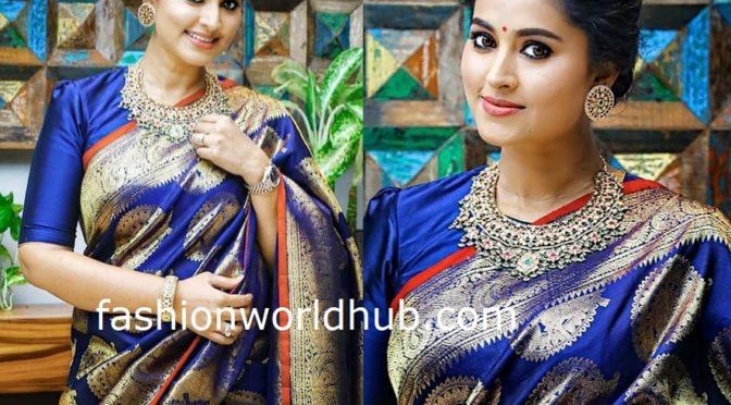 Sneha Prasanna in a blue kanjeevaram saree