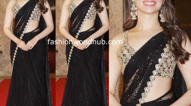 Tamannaah Bhatia in a black saree at Ramesh Taurani's Diwali Party