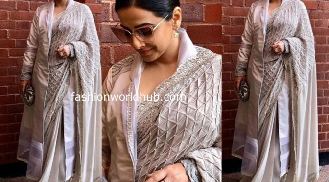 Vidya Balan in Jade by Monica and Karishma saree