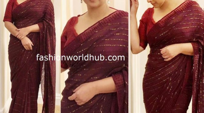Vidya balan in maroon saree for promotions of Shakuntala Devi