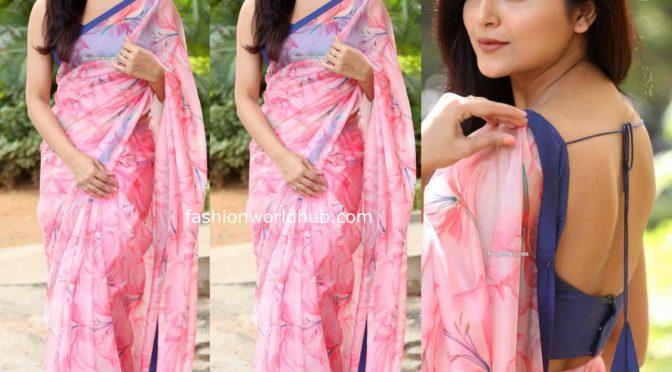 Avantika Mishra in a pink floral printed saree