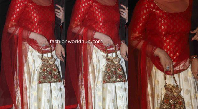 Esha Deol in a silk lehenga at the Bachchan's Diwali party