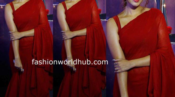 Nivetha Pethuraj in a Red ruffle saree!
