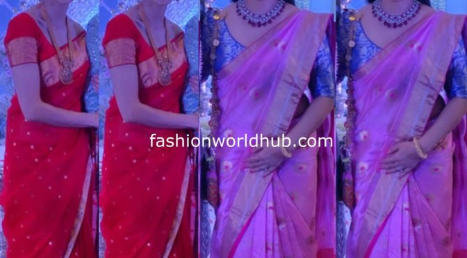 Shilpa Reddy and Keerthi Reddy in Traditional silk sarees at a wedding!