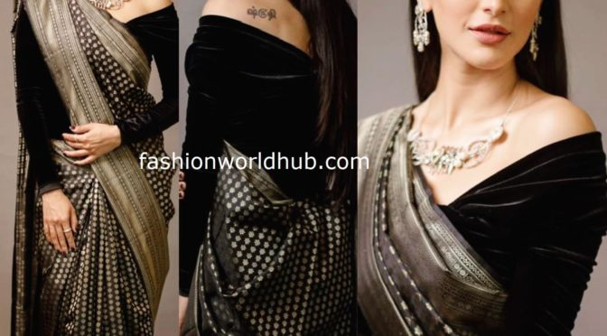 Shruti Haasan in a black Kanjeevaram saree by Sailesh Singhania