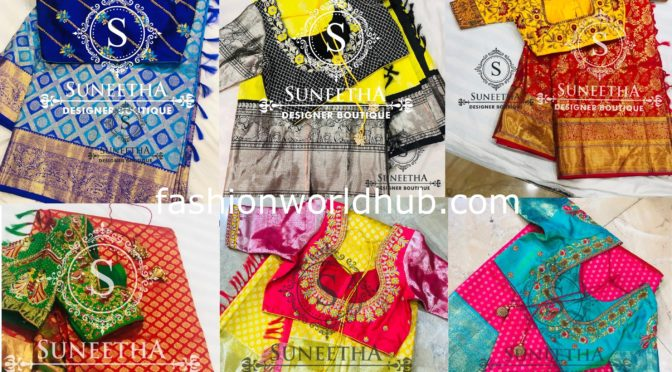Latest  Kanchi pattu sarees with maggam work blouse by Suneetha designer boutique!