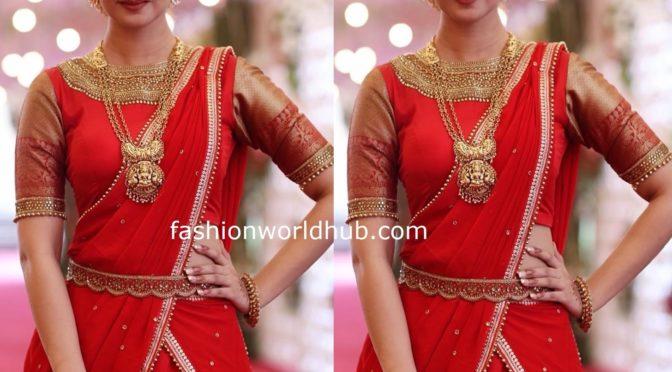 Aishwarya Arjun in a Red Half saree!