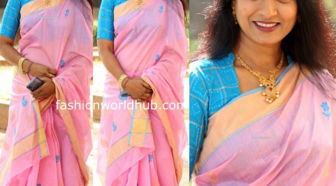 Actress Aamani in a pink saree!