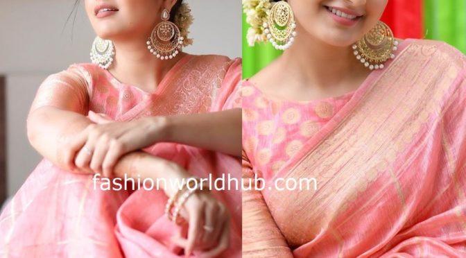 Ashika Ranganath in a Peach Silk saree!