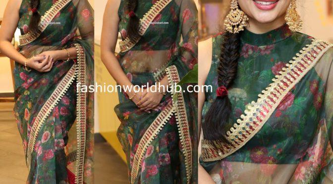 Madhumitha in a Green floral print organza saree!
