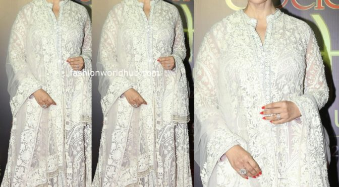Manisha Koirala in white Anarkali suit by Manish malhotra!
