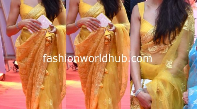 Shilpa reddy in a yellow saree at ANR National Awards!