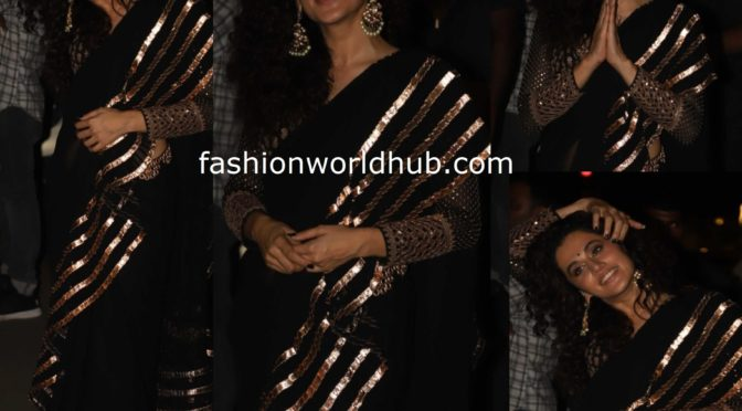 Taapsee in a black saree at Bachchan Diwali party