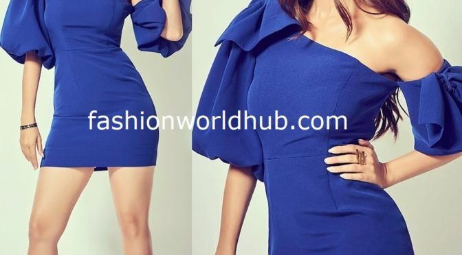 Vedhika in Royal blue dress by River Island