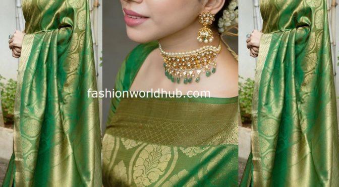 Aarti Ravi in a green Kanjeevaram saree!