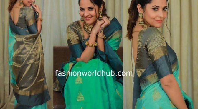 Anasuya in a Green silk saree!