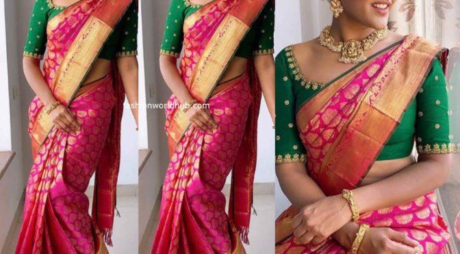 Eesha Rebba in a Pink kanjeevaram saree!